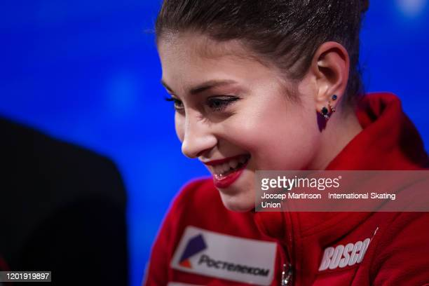 Alena Kostornaia of Russia looks on at the kiss and cry in the Ladies Free Skating during day 4 of the ISU European Figure Skating Championships at...