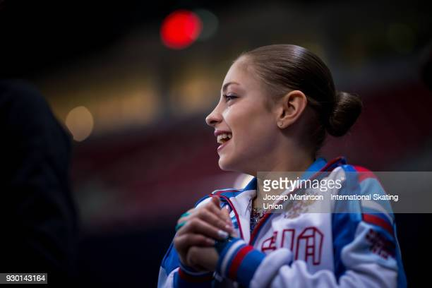 Alena Kostornaia of Russia looks on in the Junior Ladies Free Skating during the World Junior Figure Skating Championships at Arena Armeec on March...