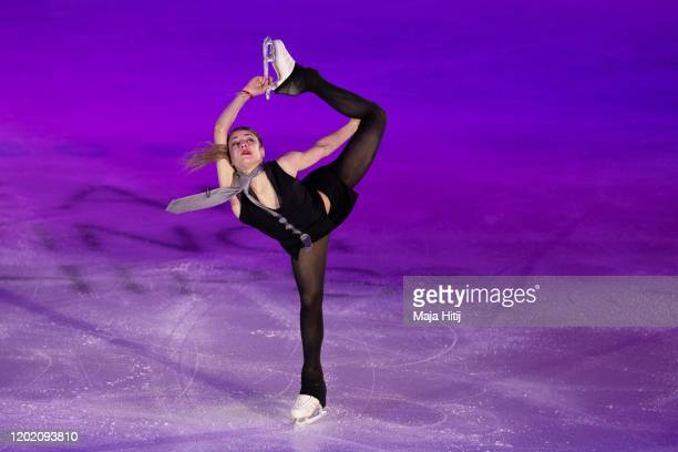 Alena Kostornaia of Russia performs during exhibition program at the ISU European Figure Skating Championships at Steiermarkhalle on January 26 2020...