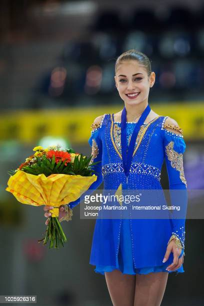 Alena Kostornaia of Russia poses in the Junior Ladies medal ceremony during day three of the ISU Junior Grand Prix of Figure Skating at Keine Sorgen...