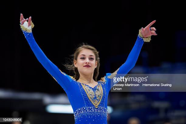 Alena Kostornaia of Russia poses in the Junior Ladies medal ceremony during the ISU Junior Grand Prix of Figure Skating at Ostravar Arena on...