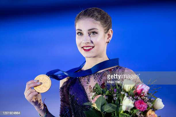 Alena Kostornaia of Russia poses with a gold medal in the Ladies medal ceremony during day 4 of the ISU European Figure Skating Championships at...