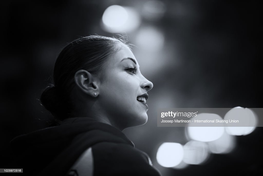 Alena Kostornaia of Russia prepares in the Junior Ladies Free Skating during day three of the ISU Junior Grand Prix of Figure Skating at Keine Sorgen Eis Arena on September 01, 2018 in Linz, Austria.