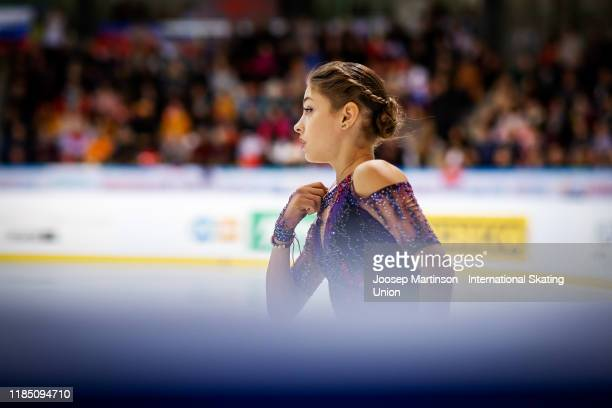 Alena Kostornaia of Russia prepares in the Ladies Free Skating during day 2 of the ISU Grand Prix of Figure Skating Internationaux de France at...
