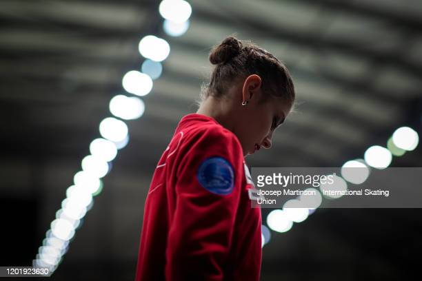 Alena Kostornaia of Russia prepares in the Ladies Free Skating during day 4 of the ISU European Figure Skating Championships at Steiermarkhalle on...