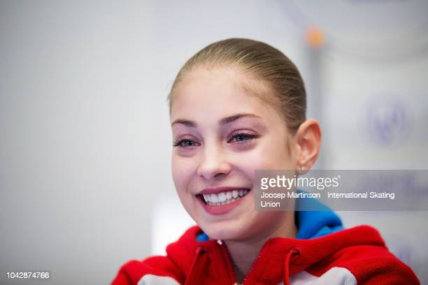 Alena Kostornaia of Russia reacts at the kiss and cry in the Junior Ladies Free Skating during the ISU Junior Grand Prix of Figure Skating at...