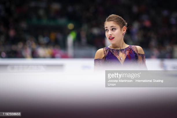 Alena Kostornaia of Russia reacts in the Ladies Free Skating during the ISU Grand Prix of Figure Skating Final at Palavela Arena on December 07, 2019...
