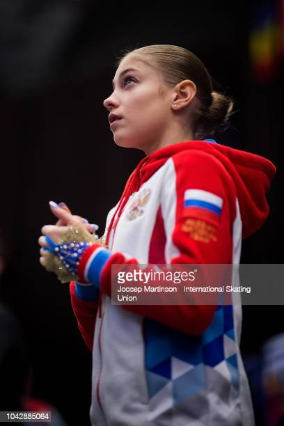 Alena Kostornaia of Russia warms up ahead of the Junior Ladies Free Skating during the ISU Junior Grand Prix of Figure Skating at Ostravar Arena on...