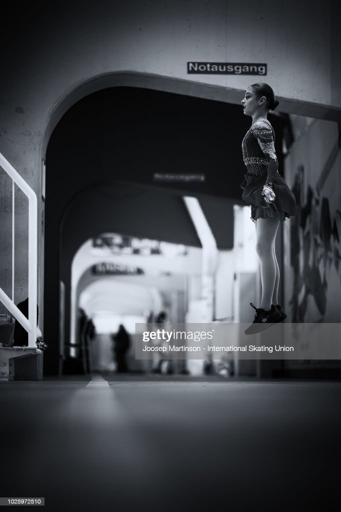 Alena Kostornaia of Russia warms up in the Junior Ladies Free Skating during day three of the ISU Junior Grand Prix of Figure Skating at Keine Sorgen Eis Arena on September 01, 2018 in Linz, Austria.