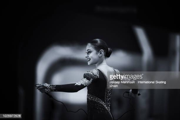 Alena Kostornaia of Russia warms up in the Junior Ladies Free Skating during day three of the ISU Junior Grand Prix of Figure Skating at Keine Sorgen...