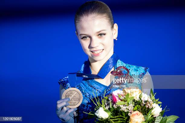 Alena Kostornaia poses with a bronze medal in the Ladies medal ceremony during day 4 of the ISU European Figure Skating Championships at...