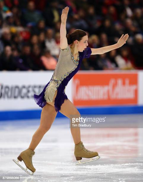 Alena Leonova of Russia competes in the Ladies' Free Skate during day three of 2017 Bridgestone Skate America at Herb Brooks Arena on November 26...