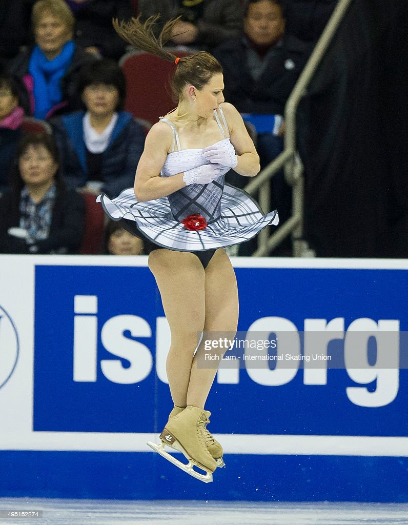 Alena Leonova of Russia jumps while competing during the Ladies Free Skate on day two of Skate Canada International ISU Grand Prix of Figure Skating, October, 31, 2015 at ENMAX Centre in Lethbridge, Alberta, Canada.