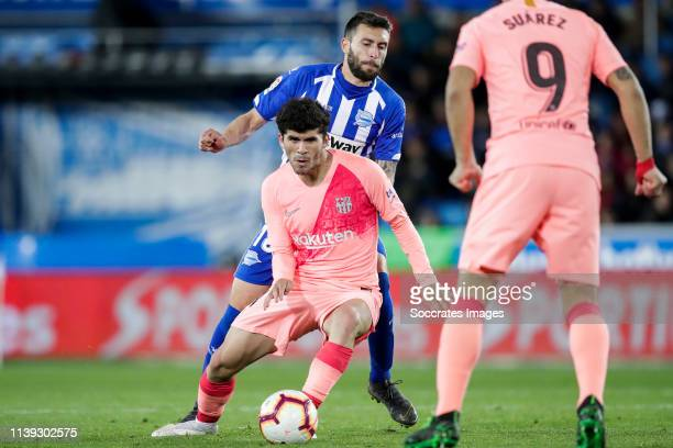 Alena of FC Barcelona Borja Baston of Deportivo Alaves during the La Liga Santander match between Deportivo Alaves v FC Barcelona at the Estadio de...