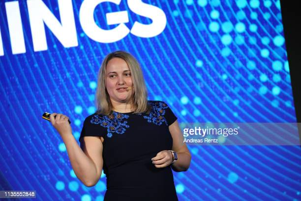 Alena Reva, HR Director Europe of Kaspersky Lab speaks during the Kaspersky Lab European Strategic Session on March 11, 2019 in Split, Croatia.