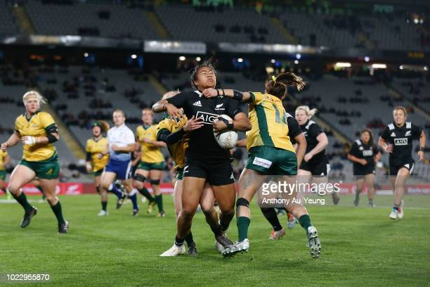 Alena Saili of New Zealand is tackled by Mhicca Carter of Australia during the International Test match between the New Zealand Black Ferns and the...