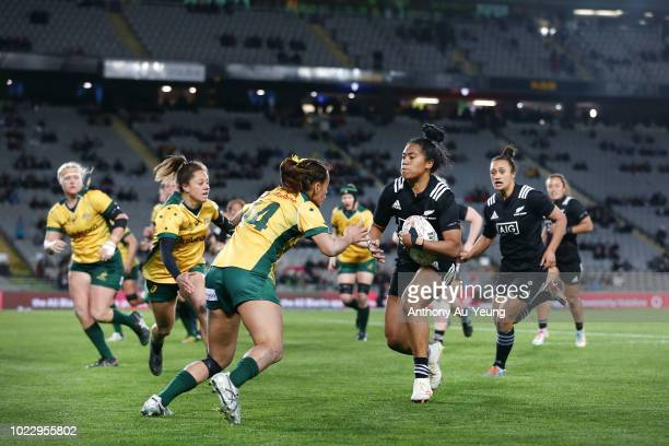 Alena Saili of New Zealand makes a run during the International Test match between the New Zealand Black Ferns and the Australia Wallaroos at Eden...