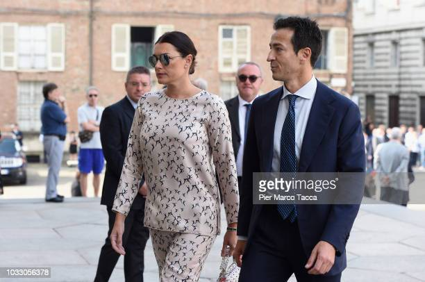 Alena Seredova and Alessandro Nasi arrive at the memorial service for Sergio Marchionne at Duomo on September 14, 2018 in Turin, Italy. A memorial...