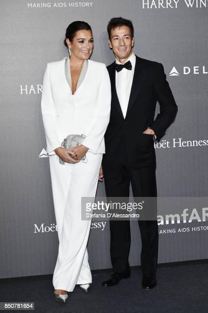 Alena Seredova and Alessandro Nasi walk the red carpet of amfAR Gala Milano on September 21 2017 in Milan Italy
