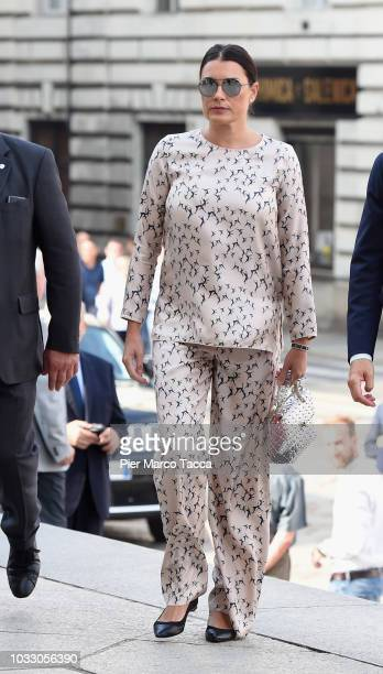Alena Seredova arrives at the memorial service for Sergio Marchionne at Duomo on September 14 2018 in Turin Italy A memorial service was held at the...