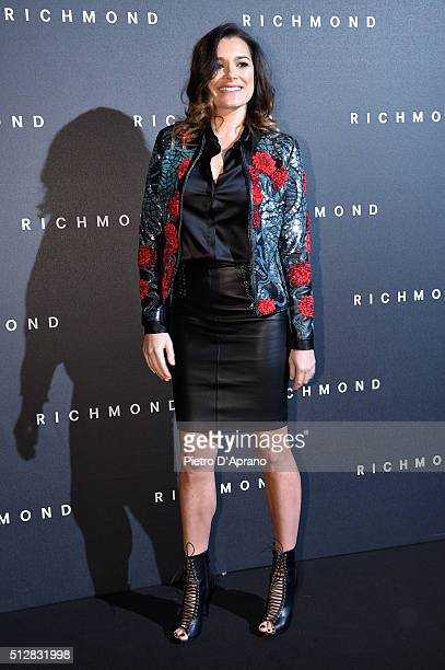 Alena Seredova arrives at the Richmond show during Milan Fashion Week Fall/Winter 2016/17 on February 28 2016 in Milan Italy