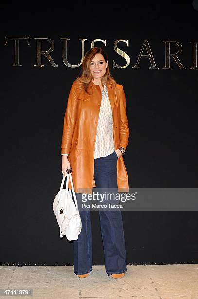 Alena Seredova attends the Trussardi show as part of Milan Fashion Week Womenswear Autumn/Winter 2014 on February 23, 2014 in Milan, Italy.