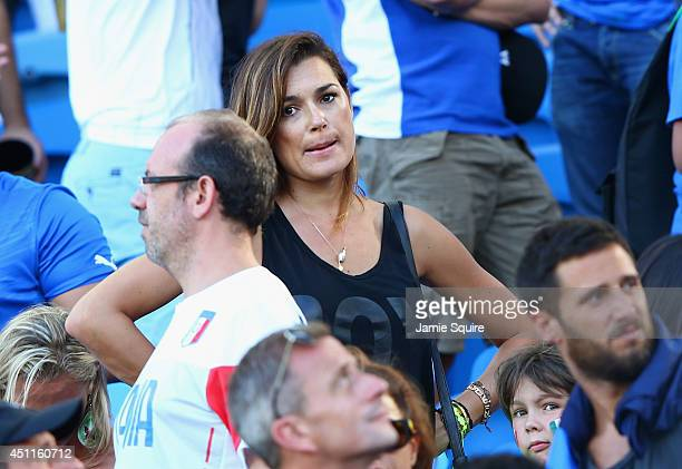 Alena Seredova, wife of Gianluigi Buffon of Italy, looks on during the 2014 FIFA World Cup Brazil Group D match between Italy and Uruguay at Estadio...