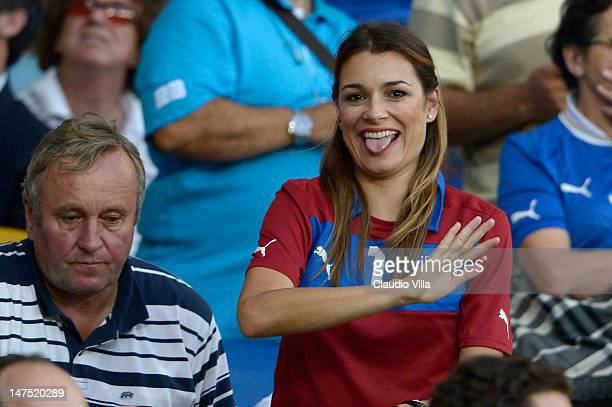 Alena Seredova wife of Gianluigi Buffon of Italy looks on prior to the UEFA EURO 2012 final match between Spain and Italy at the Olympic Stadium on...