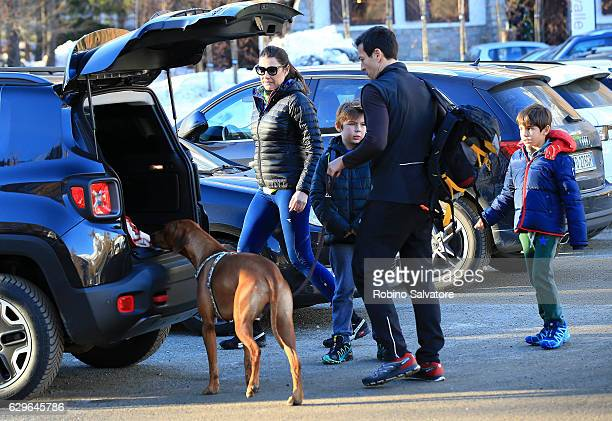 Alena Seredova with sons David Lee Buffon, Luis Thomas Buffon and Alessandro Nasi are seen on December 10, 2016 in Courmayeur, Italy.