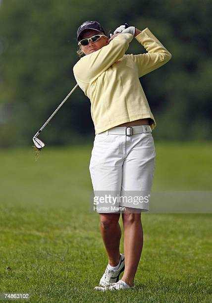 Alena Sharp of Canada hits her second shot on the 11th hole during the second round of the Wegmans at Locust Hill Country Club June 22, 2007 in...