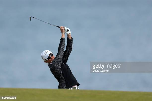 Alena Sharp of Canada hits her second shot on the 4th hole during the first round of the Ricoh Women's British Open at Kingsbarns Golf Links on...