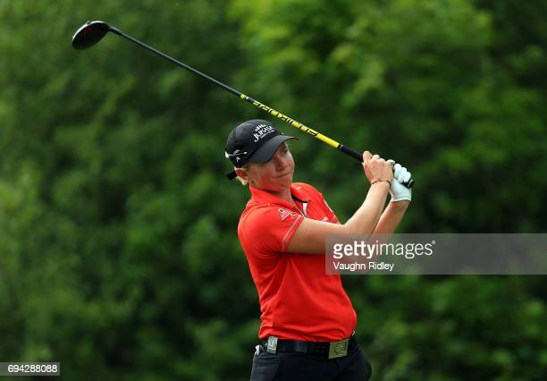 Alena Sharp of Canada hits her tee shot on the 18th hole during the second round of the Manulife LPGA Classic at Whistle Bear Golf Club on June 09...