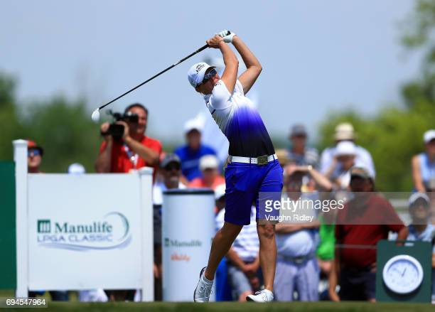 Alena Sharp of Canada hits her tee shot on the 1st hole during the third round of the Manulife LPGA Classic at Whistle Bear Golf Club on June 10 2017...