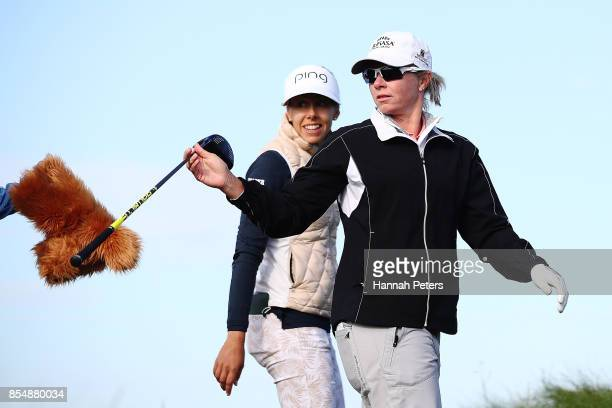 Alena Sharp of Canada passes her driver to her caddie during day one of the McKayson New Zealand Women's Open at Windross Farm on September 28 2017...