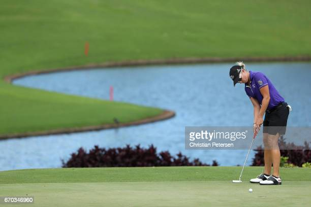 Alena Sharp of Canada putts on the eighth green during the final round of the LPGA LOTTE Championship Presented By Hershey at Ko Olina Golf Club on...