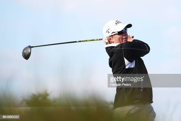 Alena Sharp of Canada tees off during day one of the McKayson New Zealand Women's Open at Windross Farm on September 28 2017 in Auckland New Zealand
