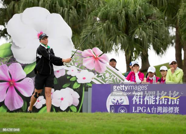 Alena Sharp of the United States tees off on the first hole during day three of the Swinging Skirts LPGA Taiwan Championship on October 21 2017 in...