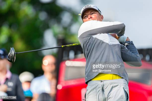 Alena Sharp tees off on the 1st hole during the first round of the Canadian Pacific Women's Open on August 24 2017 at The Ottawa Hunt and Golf Club...