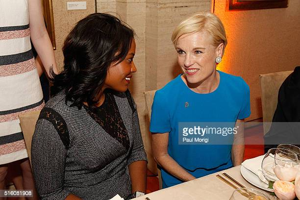 Alencia Johnson and honoree Cecile Richards attend the ELLE and Hugo Boss Women in Washington Power List Dinner at the Kreeger Museum on March 16...
