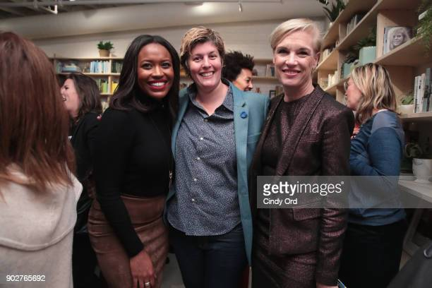 Alencia Johnson and Planned Parenthood CEO Cecile Richards attend the Together We Rise book launch celebrated by the Women's March Organizers and...