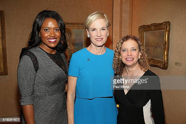 Alencia Johnson honoree Cecile Richards and Rep Debbie Wasserman Schultz attend the ELLE and Hugo Boss Women in Washington Power List Dinner at the...