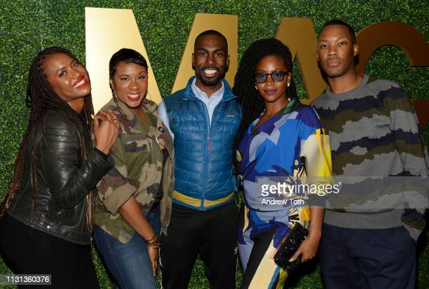 Alencia Johnson Jovian Zayne DeRay Mckesson Teyonah Parris and Corey Hawkins attend the MACRO PreOscar Party 2019 at Casita Hollywood on February 21...