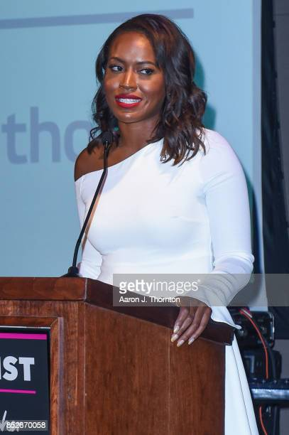 Alencia Johnson speaks on stage at the 6th Annual Planned Parenthood Champions of Women's Health Brunch at The Hamilton on September 23 2017 in...