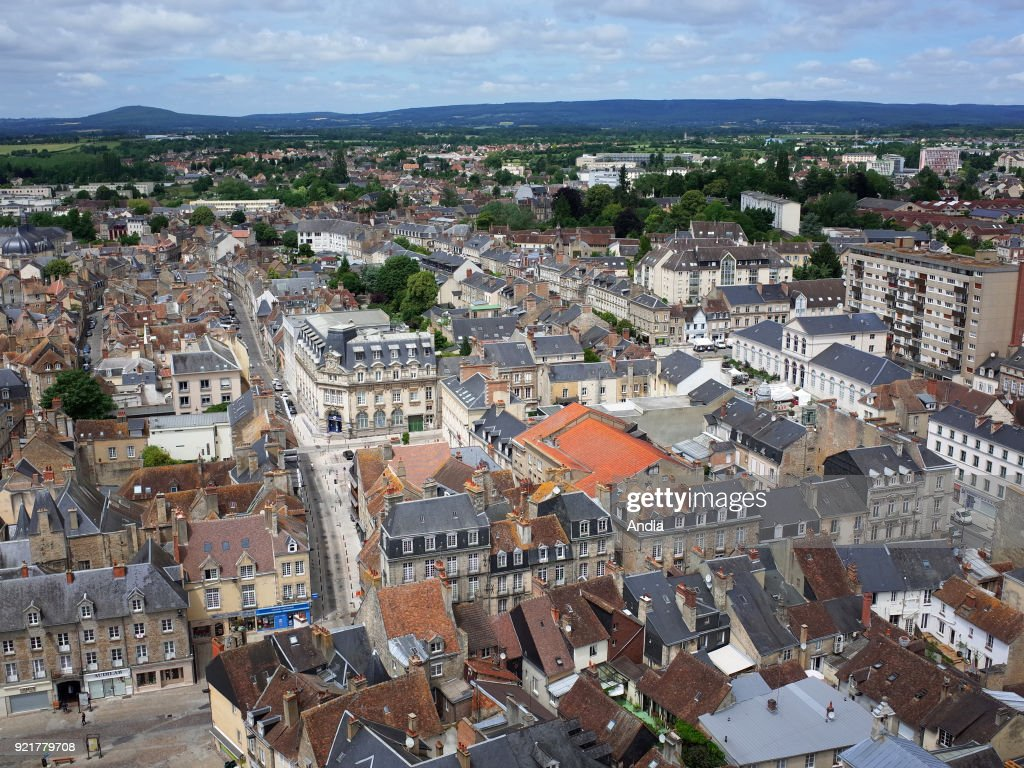 Alencon (north-western France), on : aerial view of the town centre with the Forest of Ecouves in the background.