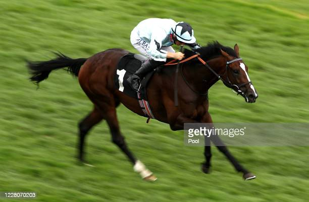 Alenquer ridden by jockey Tom Marquand on their way to winning the Unibet EBF Maiden Stakes at Newbury Racecourse on August 16 2020 in Newbury England