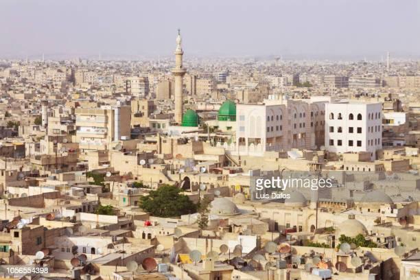 aleppo cityscape - siria fotografías e imágenes de stock