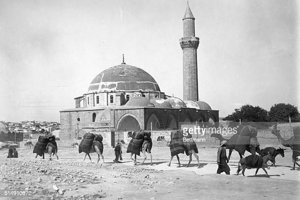 View of a camel caravan passing by the city of Aleppo near the market Undated photograph