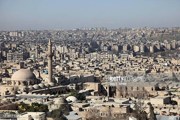 aleppo syria viewed from citadel - aleppo stock pictures, royalty-free photos & images