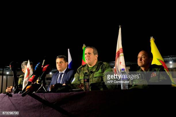 Aleppobron Ziyad Sabsabi a Russian senator speaks during a press conference during the handing over of Chechen nationals back to Russia on November...