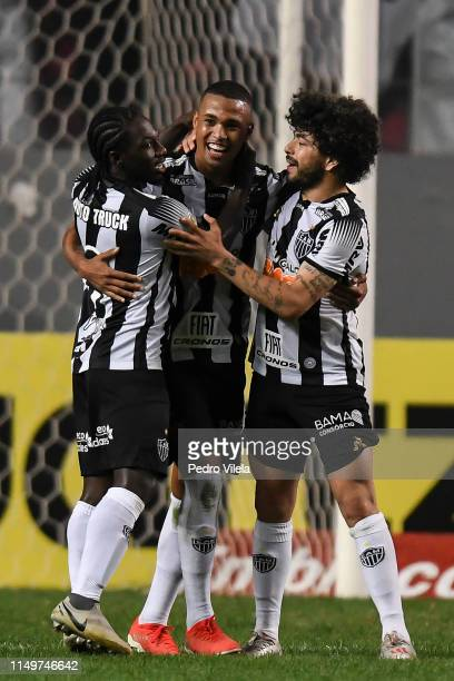 Alerrandro Luan and Chara of Atletico MG celebrates after scoring the opening goal during a match between Atletico MG and Sao Paulo as part of...